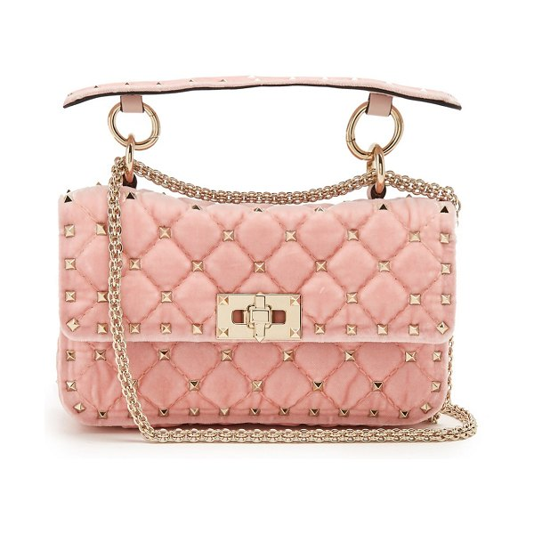 Valentino rockstud spike small quilted velvet shoulder bag in light pink