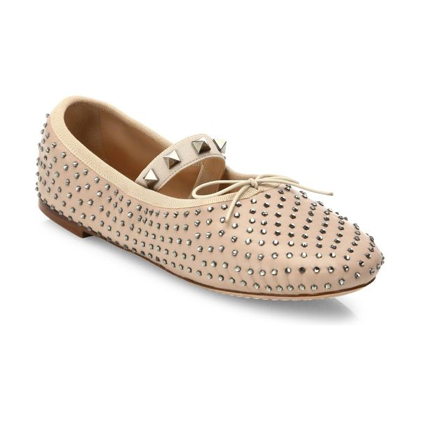 Valentino rockstud studded leather ballet flats in poudre - Rockstuds trim elastic strap of studded leather flat....