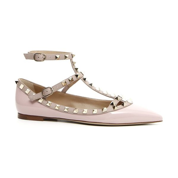 VALENTINO 'rockstud' t-strap flat - Signature pyramid studs trace the topline and caged...