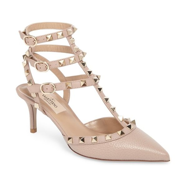 Valentino rockstud t-strap pump in nude - Gleaming rockstuds highlight the rocker-chic style of a...