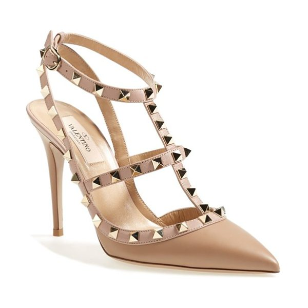 Valentino rockstud t-strap pump in camel - The iconic Rockstud pump steps out in a warmly hued...