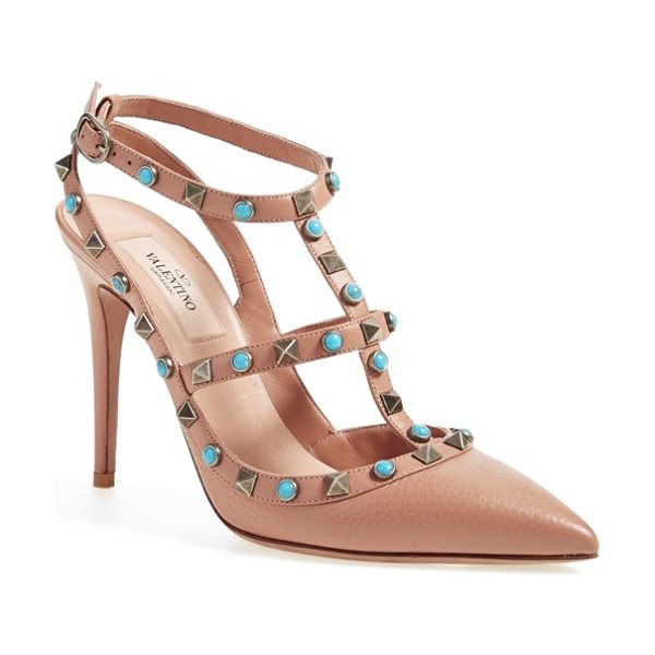 Valentino rockstud t-strap pump in beige leather - Bold turquoise-hued cabochons are patterned between...