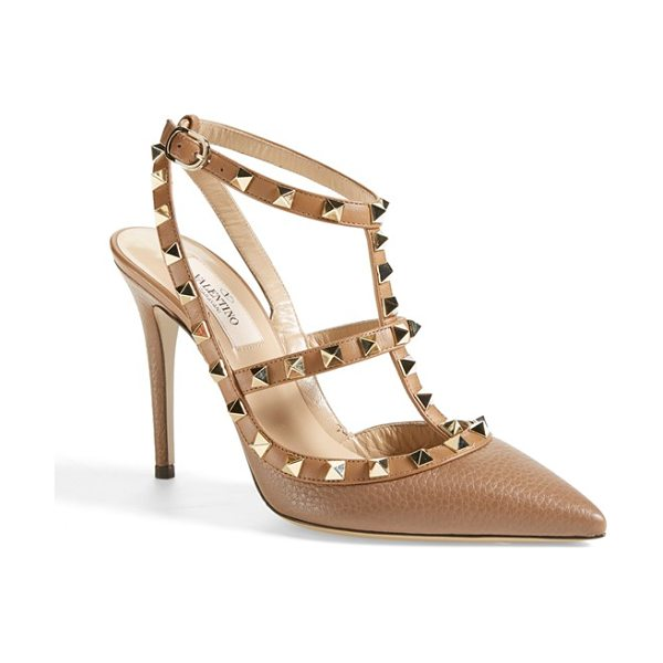 Valentino rockstud t-strap pump in tan - Pyramid studs boldly decorate a pointy-toe pump shaped...