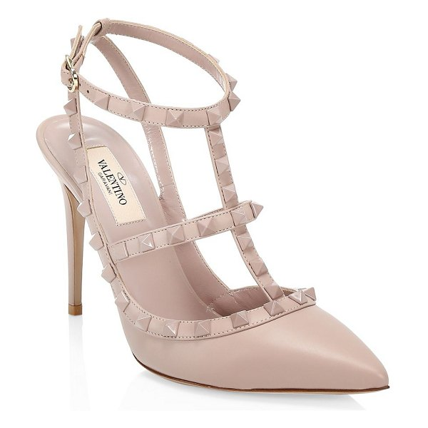 Valentino rockstud tonal leather slingback sandals in poudre - Imposing slingback sandals flaunt iconic rockstuds in a...