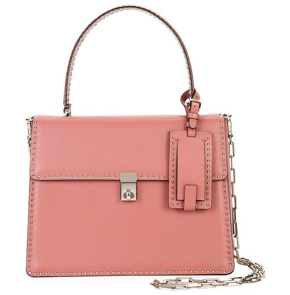 VALENTINO Rockstud Top-Handle Satchel Bag - Valentino Garavani smooth leather satchel bag with mini...