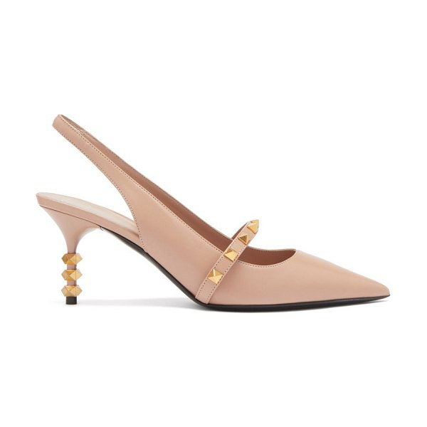 Valentino rockstud tower hill leather slingback pumps in nude