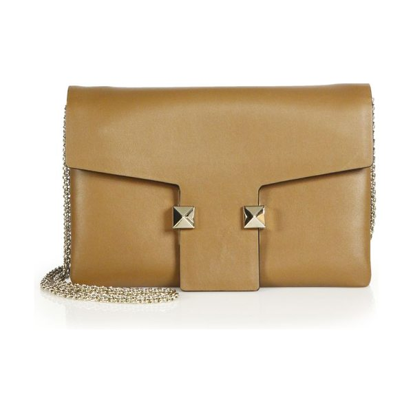 Valentino Rockstud two-tone leather crossbody bag in tan-blue - A sleek, understated design detailed with just two of...