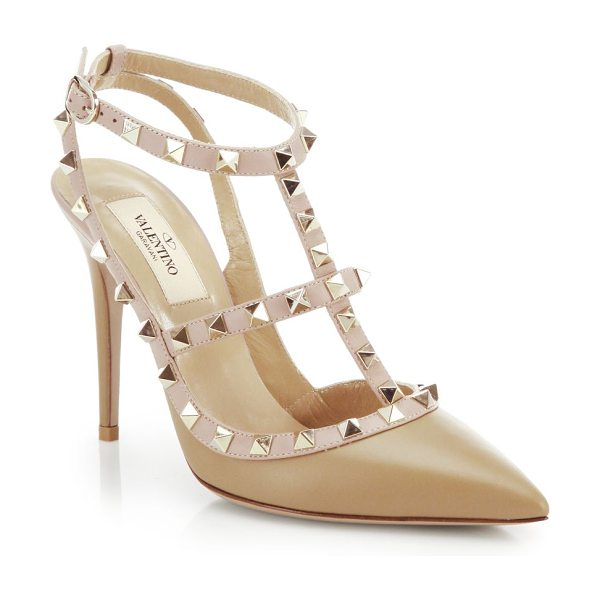 Valentino rockstud two-tone leather pumps in taupe - The front-row set's favorite shoes get a richly hued...