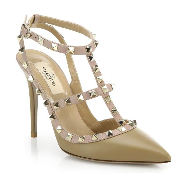Valentino Rockstud leather pumps in taupe - The iconic tough-luxe pump gets refreshed in softly...
