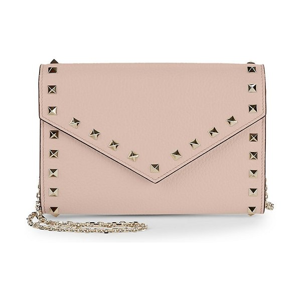 Valentino rockstud leather wallet-on-chain in poudre