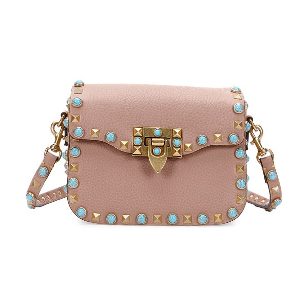 "Valentino Rolling Rockstud Small Saddle Bag in beige - Valentino ""Rolling Rockstud"" saddle bag in soft calf..."