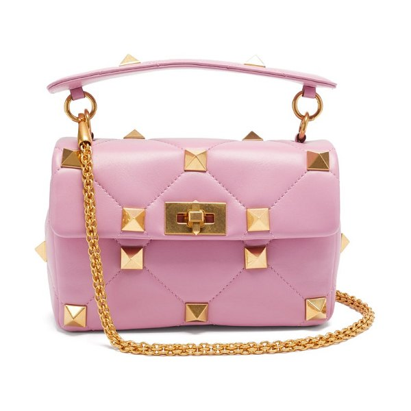 Valentino roman stud medium quilted-leather shoulder bag in pink