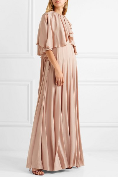 Valentino ruffled stretch-silk chiffon gown in blush - Many of the models on Valentino's Fall '18 runway were...