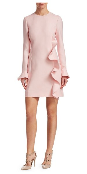 Valentino ruffled wool & silk sheath dress in lightpink - This dress features an asymmetrical ruffle that winds...