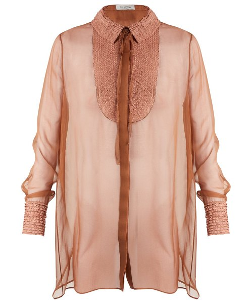 Valentino Semi Sheer Silk Chiffon Blouse in nude - Valentino - A romantic hue and diaphanous fabric combine...
