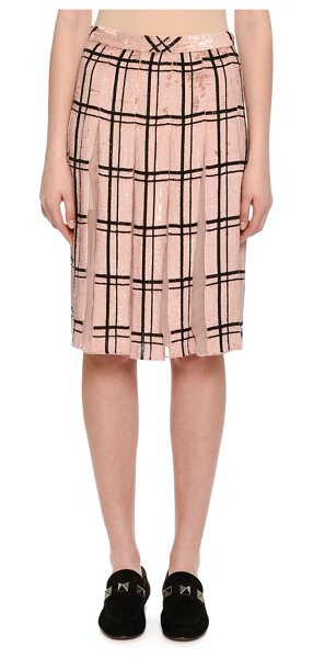 VALENTINO Sequined Windowpane Skirt with Sheer Pleats - Valentino skirt in sequin-embroidered windowpane check....