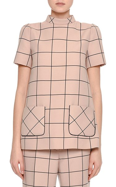 Valentino Short-Sleeve Windowpane Mock-Neck Top in blush - Valentino top in clean, modern windowpane check. Mock...