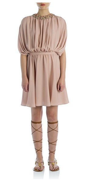 Valentino Silk draped dress in pink - A delicate crochet collar with beaded embellishment...