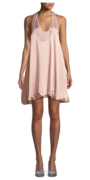 VALENTINO Sleeveless Bubble-Hem Hammered Satin Cocktail Dress in blush - Valentino dress in hammered satin. Scoop neckline....