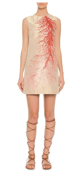 Valentino Red  sleeveless coral intarsia a-line dress in gold -  Valentino dress. Coral intarsia detail across front....