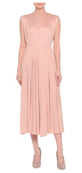 Valentino Sleeveless Jewel-Neck Shirred Midi Dress in rose - Valentino shirred dress. Jewel neckline. Sleeveless;...