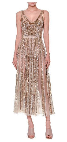 Valentino Sleeveless Sequined Tulle Gown in nude gold - Valentino sequined sheer-tulle gown. V neckline....