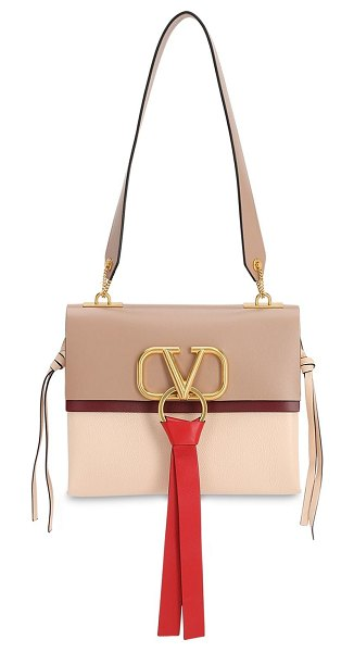 Valentino Sm v ring box leather shoulder bag in rose cannelle