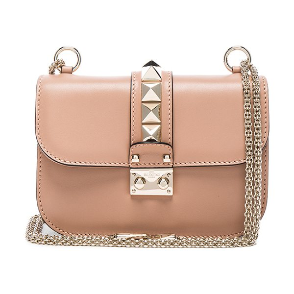 Valentino Small Lock Flap Bag in soft noisette - Genuine leather with fabric lining and gold-tone...