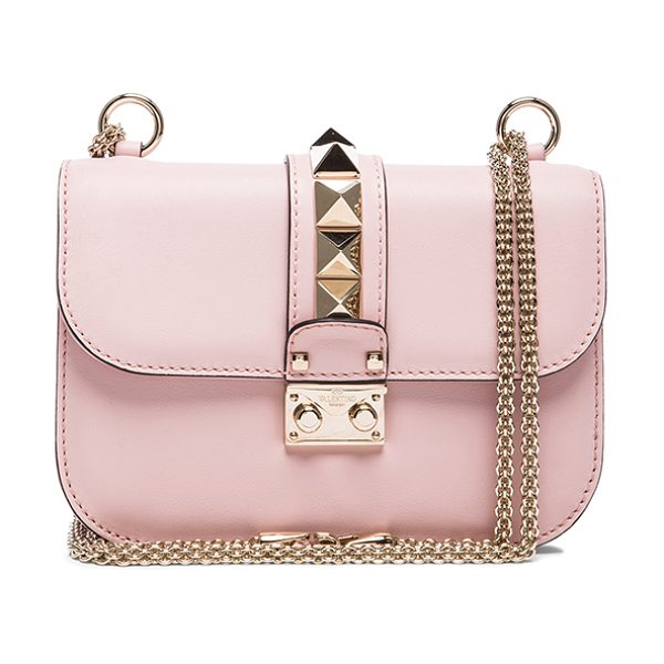 Valentino Small Lock Flap Bag in water rose - Genuine leather with twill lining and pale gold-tone...
