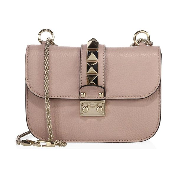 VALENTINO small lock leather chain shoulder bag - Pebble leather silhouette with oversized studded flap....