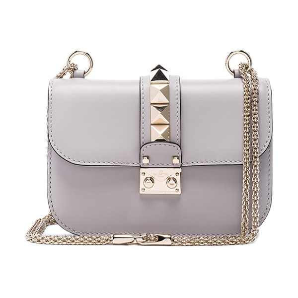 Valentino Small Lock Shoulder Bag in gray - Genuine leather with twill lining and pale...