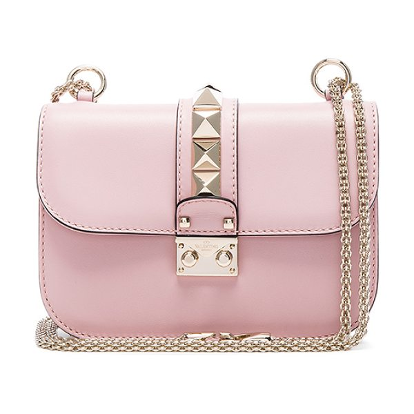VALENTINO Small Lock Shoulder Bag - Genuine leather with twill lining and pale gold-tone...