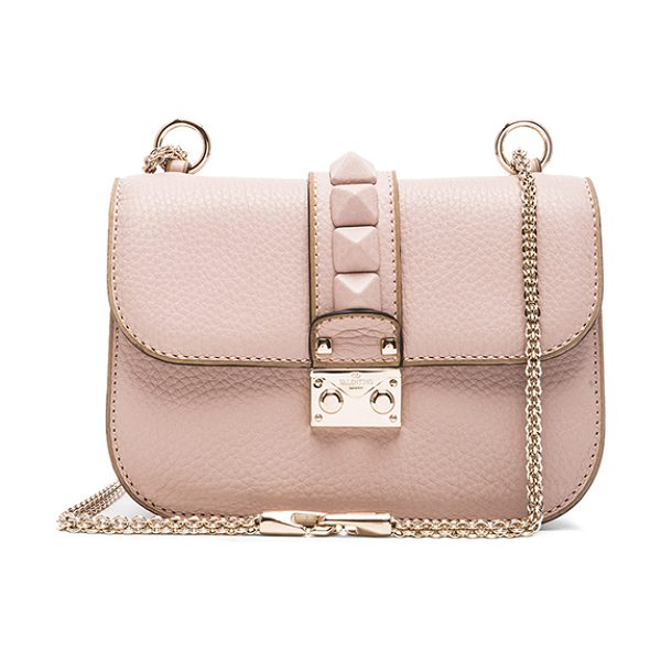 Valentino Small Lock Shoulder Bag in neutrals - Genuine leather with fabric lining and gold-tone...