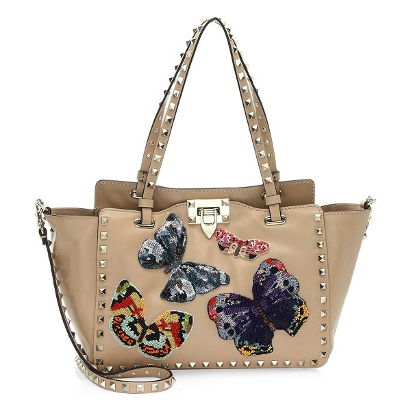 Valentino small rockstud butterfly leather tote in camel - Iconic leather tote with intricately beaded butterflies....