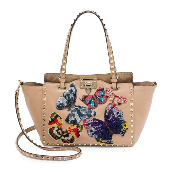 VALENTINO small rockstud butterfly leather tote - Iconic leather tote with intricately beaded butterflies....