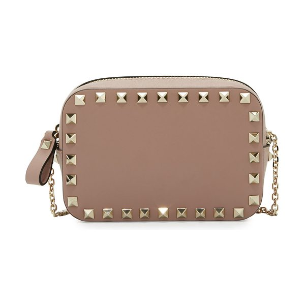 Valentino Rockstud Small Chain Camera Crossbody Bag in beige - Valentino camera-style crossbody bag in smooth calf...
