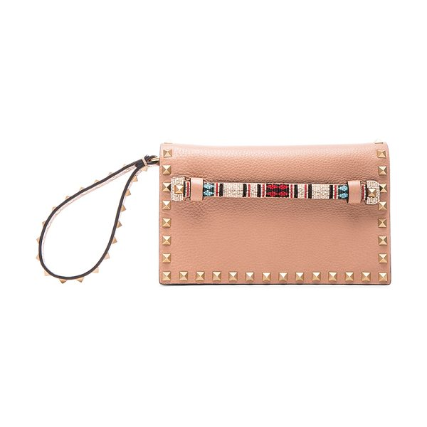 Valentino Small rockstud clutch in neutrals - Genuine leather with raw lining and gold-tone hardware. ...
