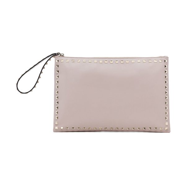 Valentino Small rockstud clutch in neutrals