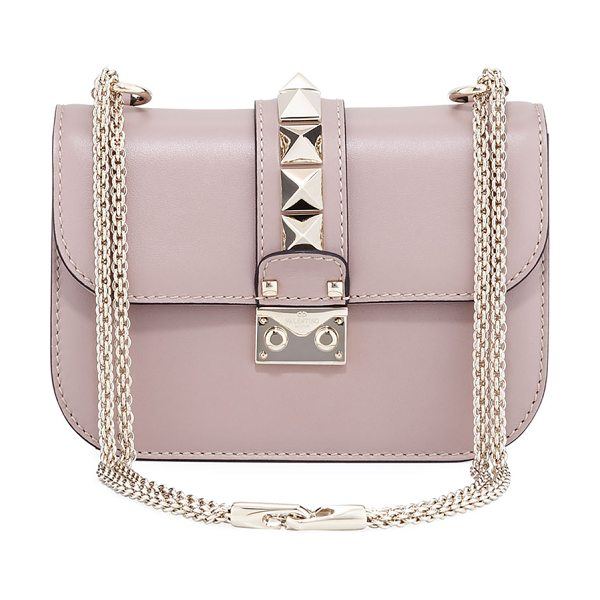 VALENTINO Small Rockstud Flap Lock-Chain Shoulder Bag - Valentino Garavani smooth leather shoulder bag. Golden...