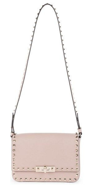 Valentino small rockstud leather flap shoulder bag in rose - Timeless leather flap bag adorned with iconic rockstuds....