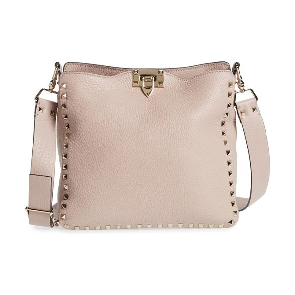 Valentino small rockstud leather hobo in pink