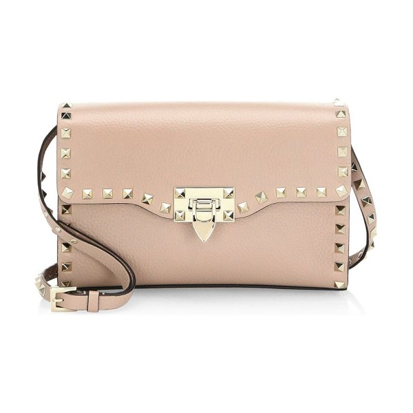 Valentino small rockstud leather crossbody bag in poudre