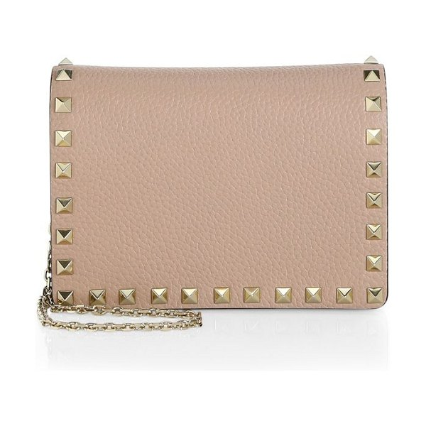 Valentino small rockstud leather shoulder bag in poudre