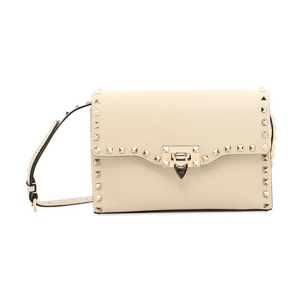 Valentino Small Rockstud Leather Shoulder Bag in taupe