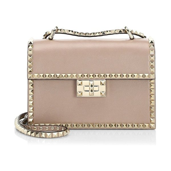 Valentino small rockstud no limit leather shoulder bag in poudre