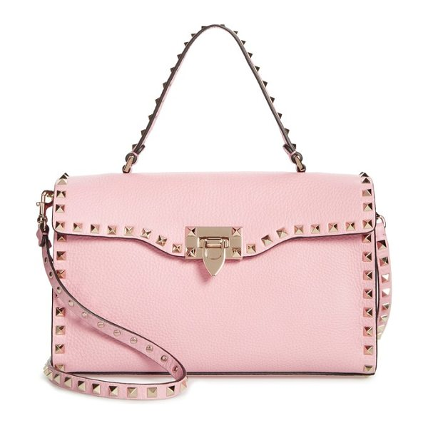 VALENTINO small rockstud leather single handle shoulder bag - Signature pyramid studs highlight the structured...