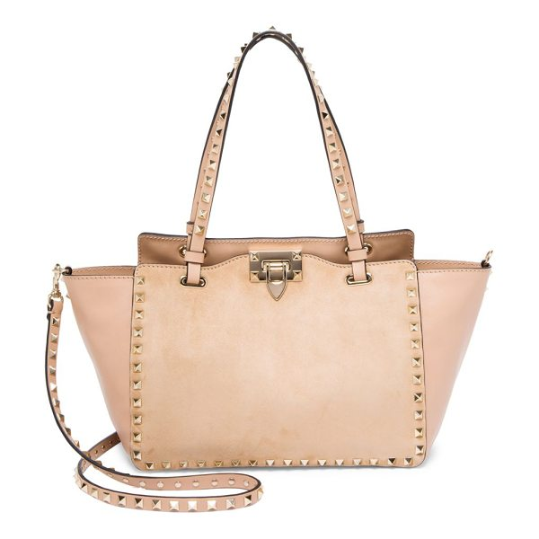 VALENTINO small rockstud leather satchel - Leather trapeze satchel with signature studded suede...