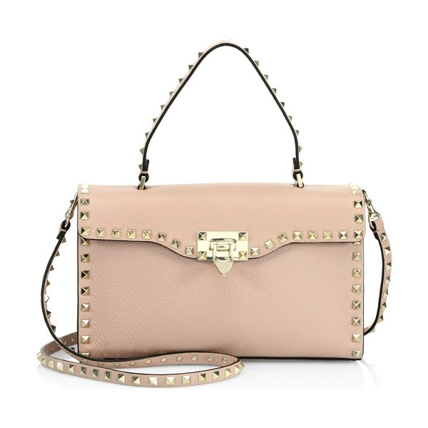 VALENTINO small rockstud leather satchel - Pebble leather satchel outlined with iconic rockstuds....