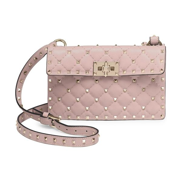 Valentino small rockstud stitched leather shoulder bag in poudre - Signature studs highlight diamond-stitched shoulder bag....