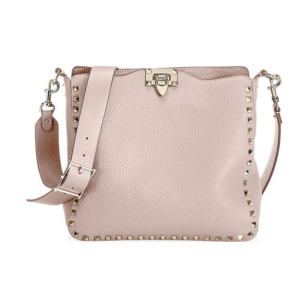Valentino rockstud small leather hobo bag in poudre - Signature rockstuds trim this essential bag crafted out...